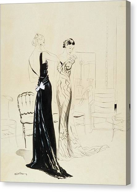 Two Young Women Wearing Schiaparelli Evening Canvas Print by Rene Bouet-Willaumez