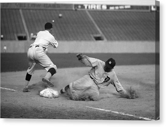 Detroit Tigers Canvas Print - Ty Cobb Sliding by Gianfranco Weiss