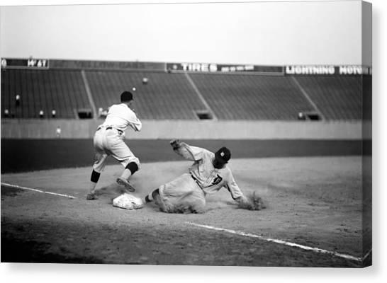 Ty Cobb Canvas Print - Ty Cobb Sliding Into Third Base 1924 by Mountain Dreams