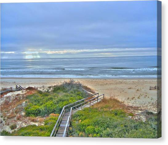 Tybee Island Beach And Boardwalk Canvas Print