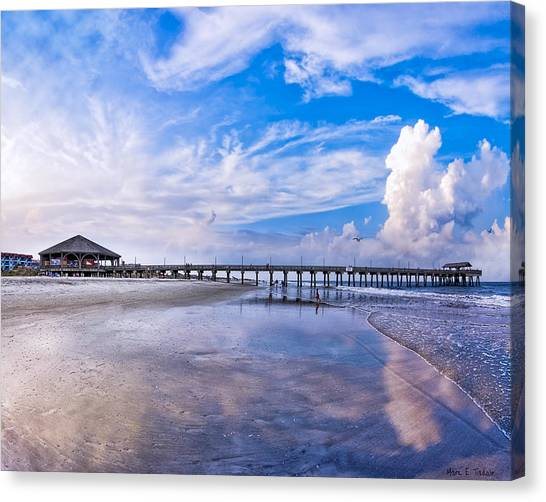 Canvas Print featuring the photograph Tybee Island Pier On A Beautiful Afternoon by Mark E Tisdale