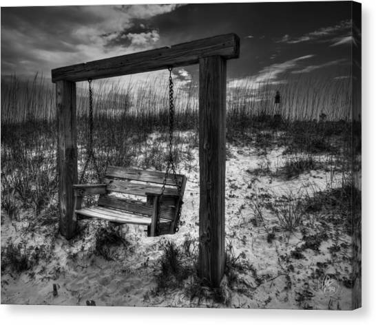 Canvas Print featuring the photograph Tybee Island Swing 003 Bw by Lance Vaughn