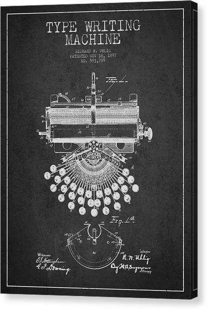 Electronic Instruments Canvas Print - Type Writing Machine Patent Drawing From 1897 - Dark by Aged Pixel