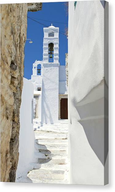 Typical Greek Alley Of A Village Canvas Print
