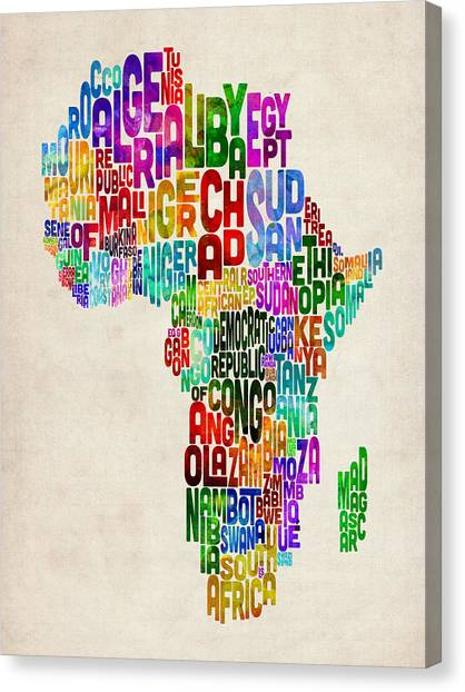 African Canvas Print - Typography Map Of Africa by Michael Tompsett