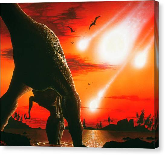 Tyrannosaurus Canvas Print - Tyrannosaur Drinks From Lake As Asteroid by Mark Garlick/science Photo Library