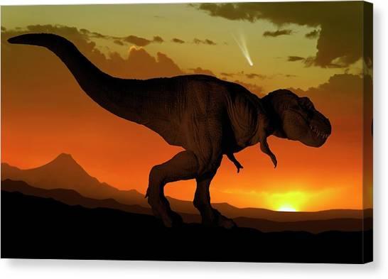 Tyrannosaurus Canvas Print - Tyrannosaurus And Comet by Mark Garlick