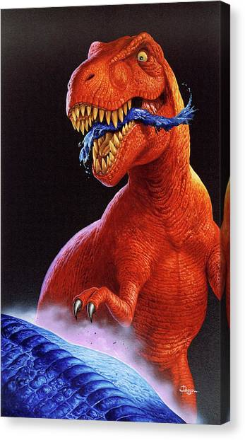 Tyrannosaurus Canvas Print - Tyrannosaurus Rex by Christian Jegou Publiphoto Diffusion/ Science Photo Library
