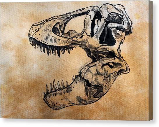 Tyrannosaurus Canvas Print - Tyrannosaurus Skull by Harm  Plat