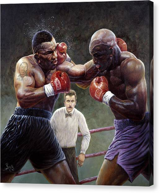 Knockout Canvas Print - Tyson/holyfield by Gregory Perillo
