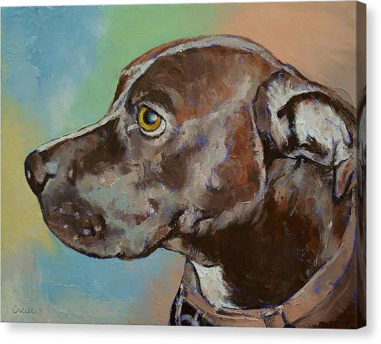 Pit Bull Canvas Print - Dog Portrait by Michael Creese