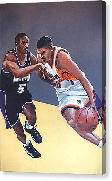 Phoenix Suns Canvas Print - Tyus Edney And Kevin Johnson by Paul Guyer
