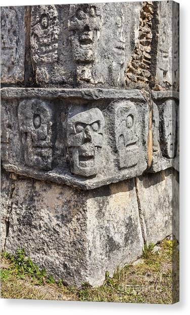 Canvas Print featuring the photograph Tzompantli Or Platform Of The Skulls At Chichen Itza by Bryan Mullennix