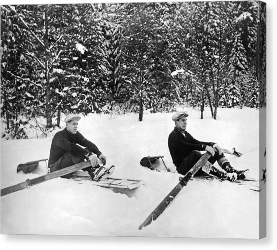 University Of Washington Canvas Print - U Of W Crew Stage Toboggan Race by Underwood Archives
