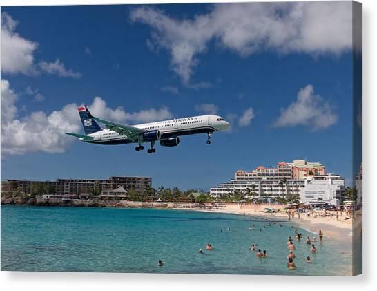 U S Airways Low Approach To St. Maarten Canvas Print