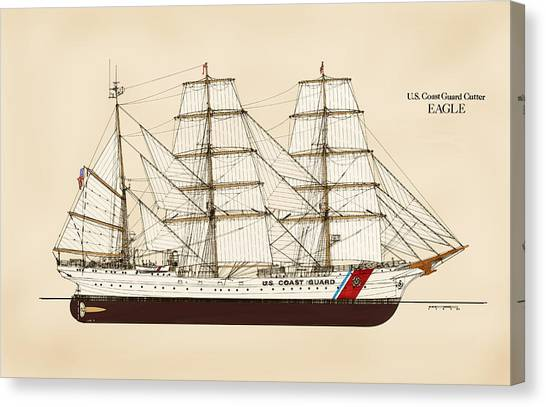 Coast Guard Canvas Print - U. S. Coast Guard Cutter Eagle - Color by Jerry McElroy - Public Domain Image