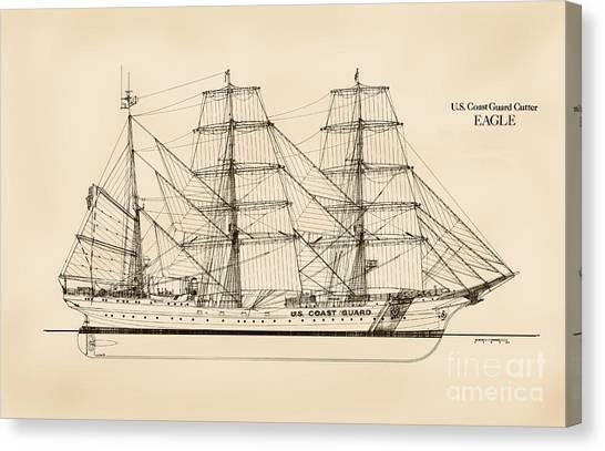 Coast Guard Canvas Print - U. S. Coast Guard Cutter Eagle - Sepia by Jerry McElroy - Public Domain Image