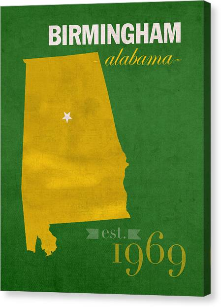 University Of Alabama At Birmingham Canvas Print - Uab University Of Alabama At Birmingham Blazers College Town State Map Poster Series No 009  by Design Turnpike