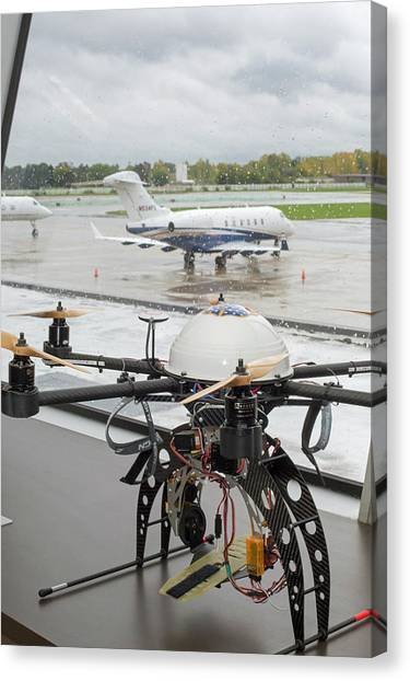 Uav Drone At An Airport Canvas Print by Jim West