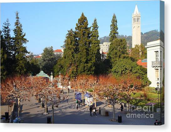 Uc Berkeley Canvas Print - Uc Berkeley . Sproul Plaza . Sather Gate And Sather Tower Campanile . 7d10002 by Wingsdomain Art and Photography