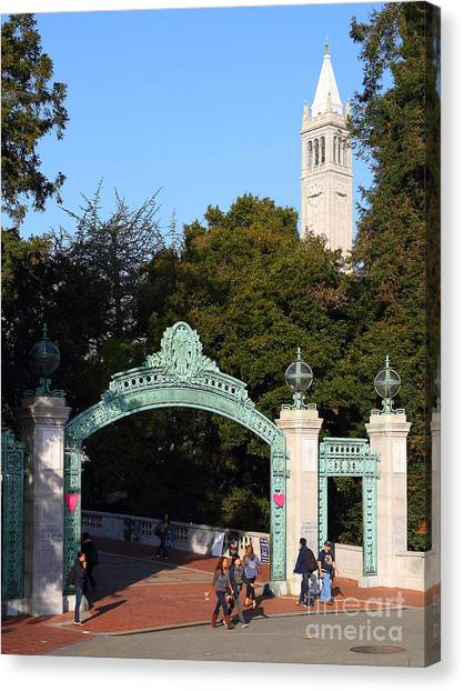 Uc Berkeley Canvas Print - Uc Berkeley . Sproul Plaza . Sather Gate And Sather Tower Campanile . 7d10027 by Wingsdomain Art and Photography
