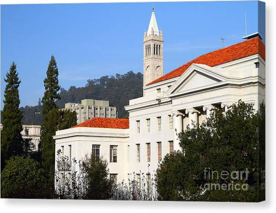 Uc Berkeley Canvas Print - Uc Berkeley . Sproul Plaza . Sproul Hall .  Sather Tower Campanile . 7d10008 by Wingsdomain Art and Photography