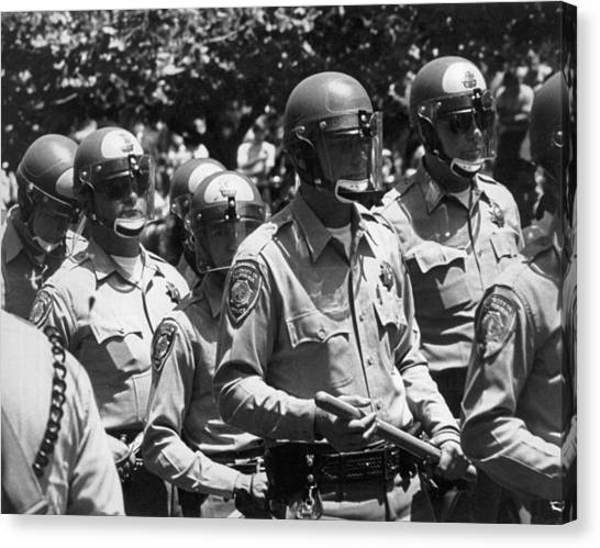 Uc Berkeley Canvas Print - Uc Police Ready by Underwood Archives Thornton