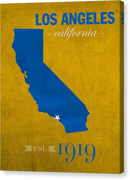 Pac 12 Canvas Print - Ucla University Of California Los Angeles Bruins College Town State Map Poster Series No 026 by Design Turnpike