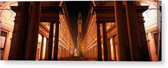 Romanesque Art Canvas Print - Uffizi Museum, Palace Vecchio by Panoramic Images