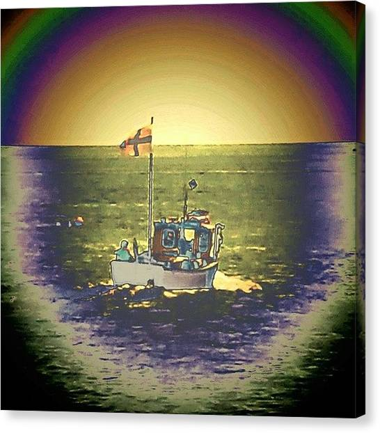 Floss Canvas Print - •uk Boat/rainbow by Candy Floss Happy