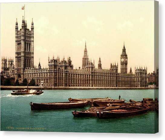 Palace Of Westminster Canvas Print - Uk Houses Of Parliament by Library Of Congress/science Photo Library