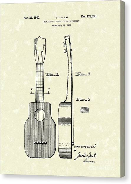 Stringed Instruments Canvas Print - Ukelele 1940 Patent Art by Prior Art Design