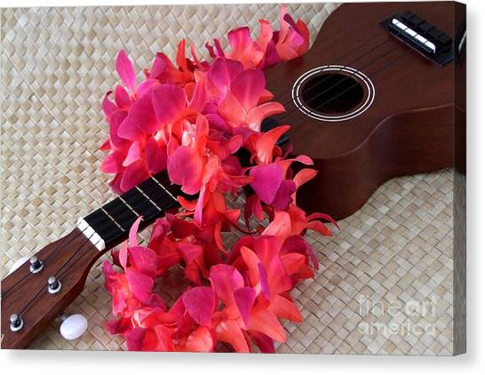 Ukuleles Canvas Print - Ukulele And Red Lei by Mary Deal