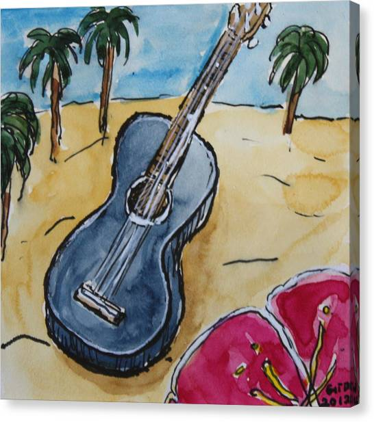 Ukulele At The Beach Canvas Print