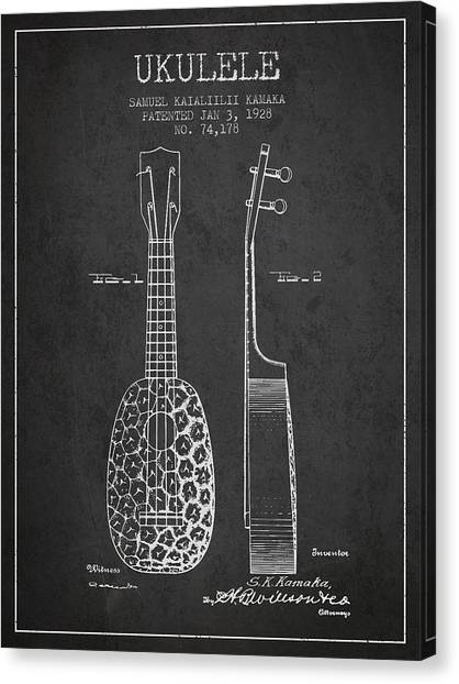 Folk Art Canvas Print - Ukulele Patent Drawing From 1928 - Dark by Aged Pixel