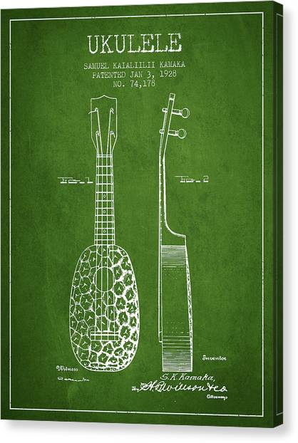 Ukuleles Canvas Print - Ukulele Patent Drawing From 1928 - Green by Aged Pixel