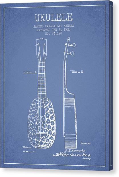 Ukuleles Canvas Print - Ukulele Patent Drawing From 1928 - Light Blue by Aged Pixel