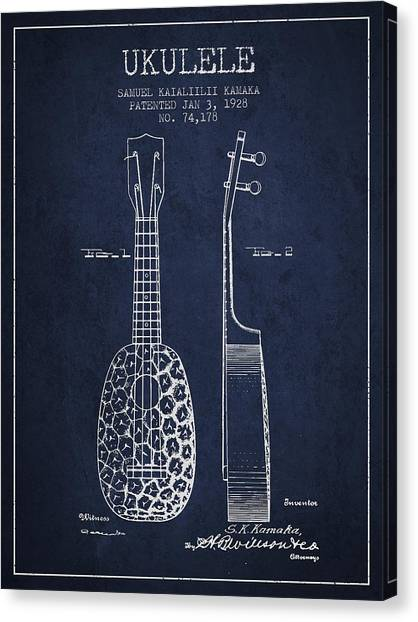 Ukuleles Canvas Print - Ukulele Patent Drawing From 1928 - Navy Blue by Aged Pixel