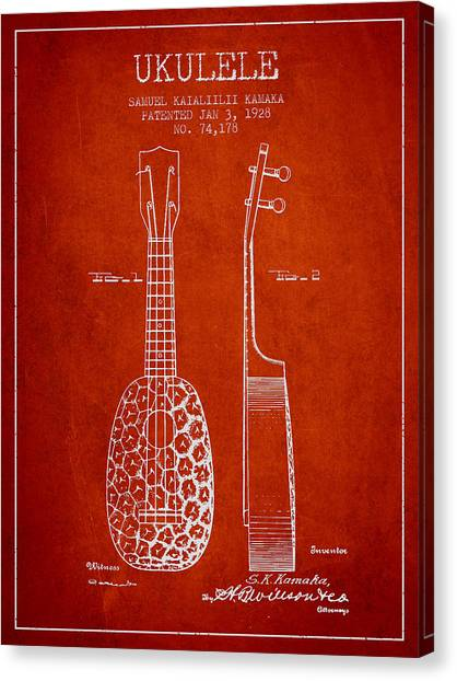Ukuleles Canvas Print - Ukulele Patent Drawing From 1928 - Red by Aged Pixel