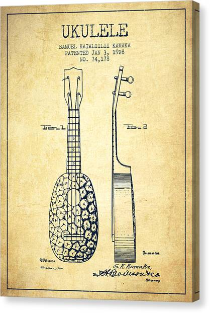 Ukuleles Canvas Print - Ukulele Patent Drawing From 1928 - Vintage by Aged Pixel