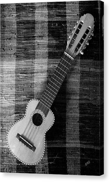 Ukulele Still Life In Black And White Canvas Print