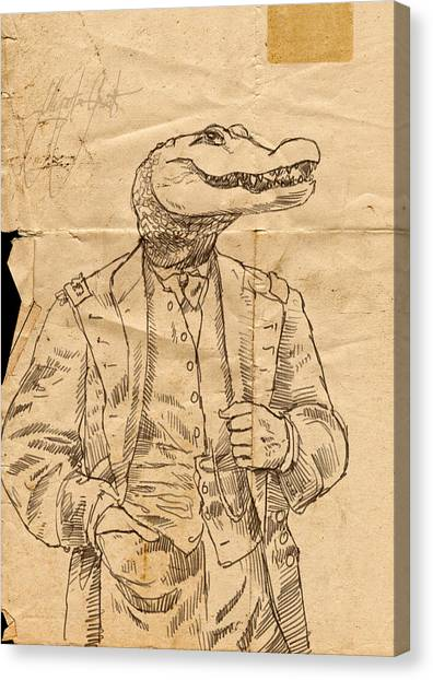 Pen And Ink Drawing Canvas Print - General Alligator by H James Hoff