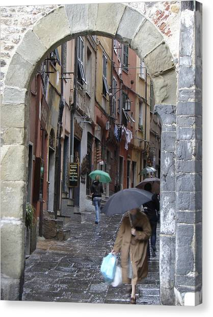 Umbrella Day Portovenere Italy Canvas Print