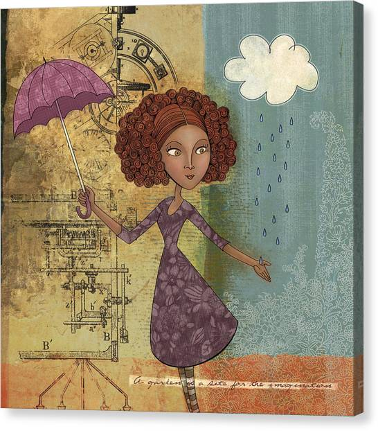 Raining Canvas Print - Umbrella Girl by Karyn Lewis Bonfiglio