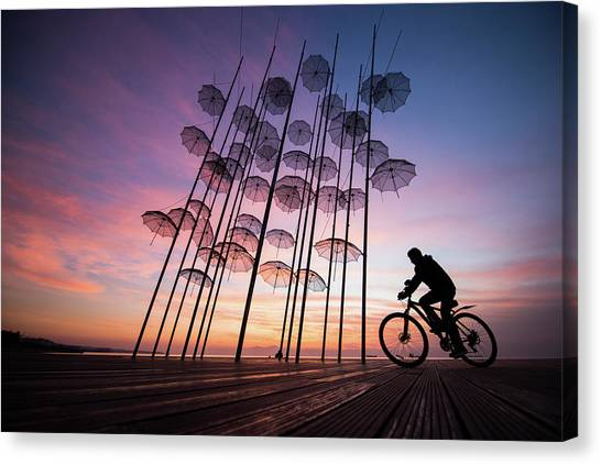 Beach Umbrellas Canvas Print - Umbrellas by Melih Karakaya