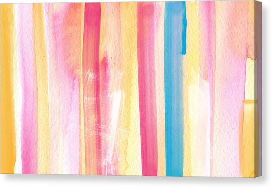 Art Nouveau Canvas Print - Umrbrella Stripe- Contemporary Abstract Painting by Linda Woods