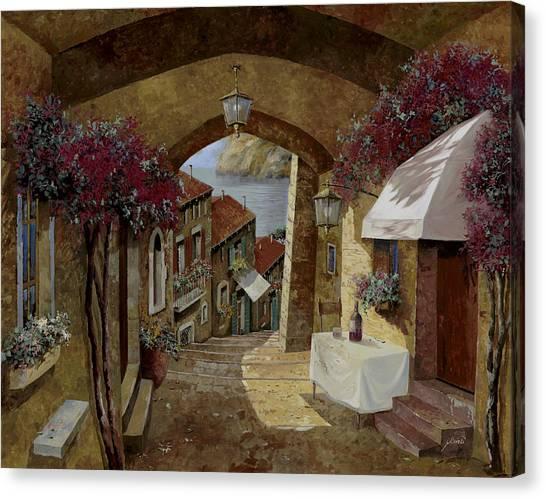 Street Canvas Print - Un Bicchiere Sotto Il Lampione by Guido Borelli