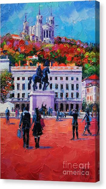 Promenade Canvas Print - Un Dimanche A Bellecour by Mona Edulesco