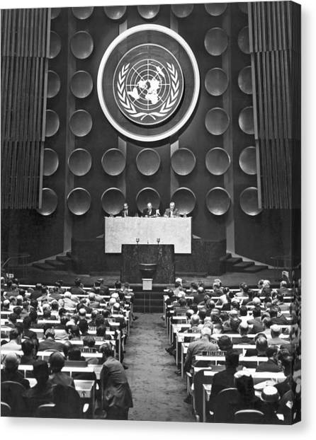 Conference Usa Canvas Print - Un General Assembly by Underwood Archives