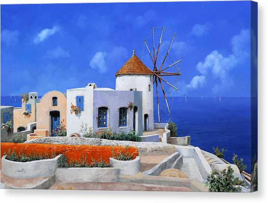 Greece Canvas Print - un mulino in Grecia by Guido Borelli